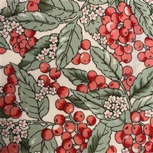 Country Floral Red Berry Leaves on Cream Fabric 0.5m Exclusive