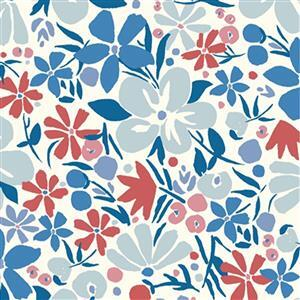 Liberty Carnaby Collection Bohemian Bloom Red and Blue Fabric 0.5m