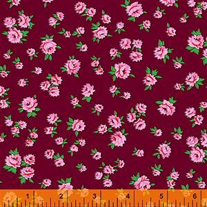 Posy Little Roses On Burgundy Fabric 0.5m