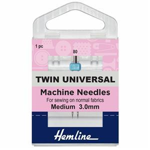 Sewing Machine Needles, Twin Universal 80/12, 3mm