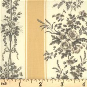 Moda Jardin De Fleurs Cream Floral Stripe Fabric 0.5m