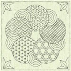 Sashiko Circle Fabric Panel 30 cm x 30 cm (12