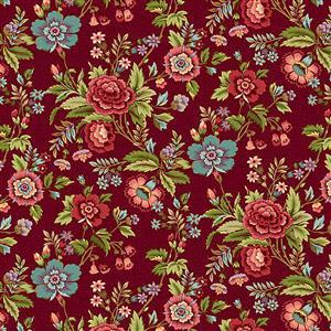 Henry Glass Tarrytown Main Floral on Red Fabric 0.5m