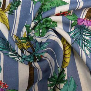 Stripey Palms Blue Fabric 0.5m