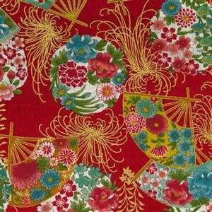 Sevenberry Gold Metallic Traditional Japanese Fan Red Fabric 0.5m