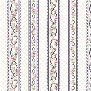 Vintage Roses White Stripe Fabric 0.5m