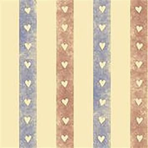Home Sweet Gnome Vintage Heart Stripes Fabric 0.5m