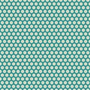 Poppie Cotton Chick-A-Doodle-Doo Flour Sack on Teal Fabric 0.5m UK exclusive