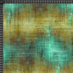 Tim Holtz Abandoned II in Piano Sorte Patina Fabric 0.5m