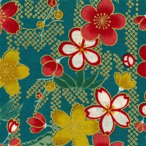 Sevenberry Gold Metallic Traditional Japanese Floral Petals Green Fabric 0.5m