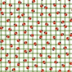 Wildflower Farm Lady Bird Picnic on Green Fabric 0.5m