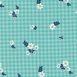 Moda Homestead Daisies on Checkered Blue Fabric 0.5m