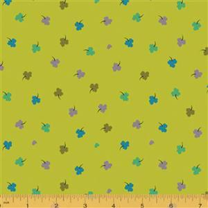 Solstice Clover on Lime Fabric 0.5m