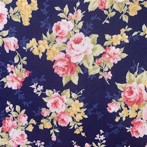 Floral Story Rose Bunches On Navy Fabric 0.5m - Sewing Street exclusive