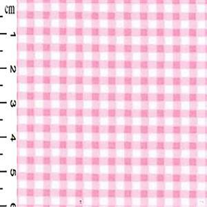 Pink Checks on White Gingham Cotton Poplin Fabric 0.5m