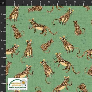 Coco's Safari Leopards Green Fabric 0.5m