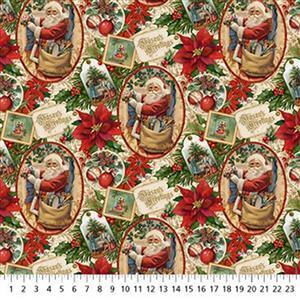 Old Time Christmas Santa & Poinsettia Fabric 0.5m