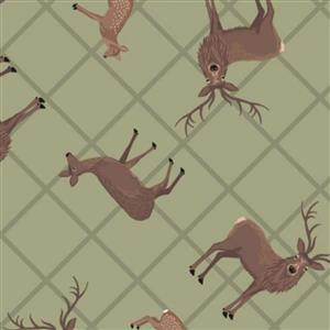 Lewis & Irene Loch Lewis Highland Stags On Green Fabric 0.5m