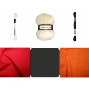 Orange Lion Pouch Storage Bundle: Fabric (1m), Felt Square, Embroidery Thread & Yarn