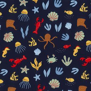 Sea Creatures on Navy Fabric 0.5m