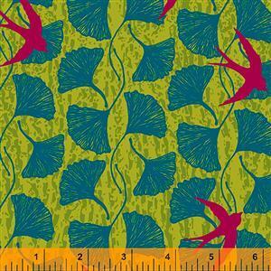 Norma Rose Songbirds on Acid Green Fabric 0.5m