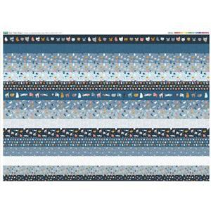 Cat Design 16 x Fabric Strips Panel - Full Width (140 x 107cm)