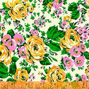 Posy Bright Big Roses On Cream Fabric 0.5m