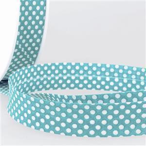 Bias Binding Cotton in Dot Steel Blue 20mm x 2.5m