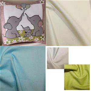 Helen Newton's Blue Elephant Nursery Cushion Kit, Pattern & Fabric (0.5m) & FQ (3pcs)