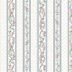 Vintage Roses Blue Stripe Fabric 0.5m
