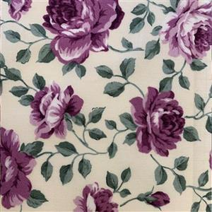 Country Floral Purple Peony on Cream Fabric 0.5m Excluive