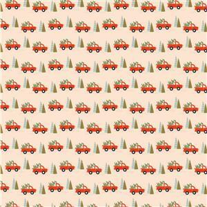 Poppie Cotton Snuggle Up Buttercup Trucks & Trees on Cream Fabric 0.5m Sewing Street exclusive