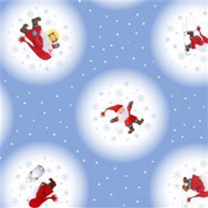 Lewis & Irene Tomten & Friends Snowballs On Icy Blue Fabrics 0.5m