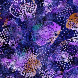 Dan Morris Aquatica Purple Fish Fabric 0.5m