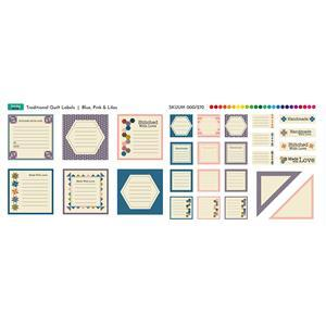 Traditional Blue, Pink & Lilac Quilt Labels Fabric Panel (70cm x 30cm)