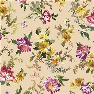 Michael Miller Victoria's Garden Daffodils on Beige Fabric 0.5m