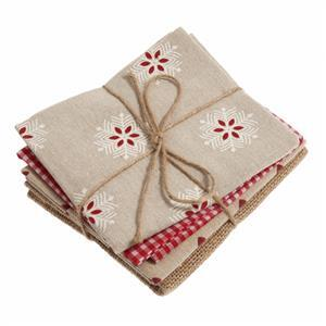 Naturals Fat Quarters  Red Pack of 4
