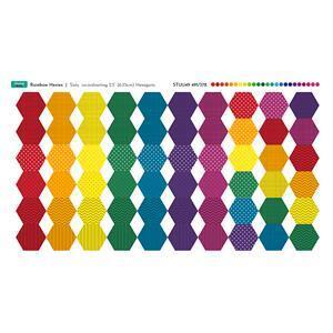 Rainbow Strips Hexies Fabric Panel: 70cm x 38cm. Exclusive