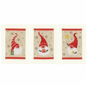 Christmas Gnomes Counted Cross Stitch Greeting Cards Kit Pack of 3