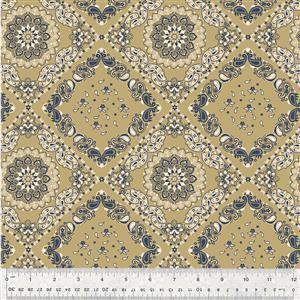 Kingston Tile on Gold Fabric 0.5m