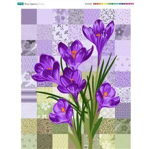 Flower Applique Crocus Fabric Panel (70 x 93cm)