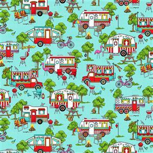 Roamin Holiday in Sky Blue Camping Fabric 0.5m