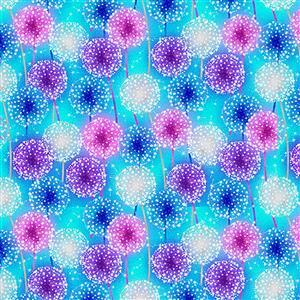 Let Your Light Shine Starburst on Blue Glow In The Dark Fabric 0.5m