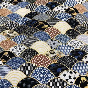 Mito Gold Crescent Design Fabric Metallic 0.5m