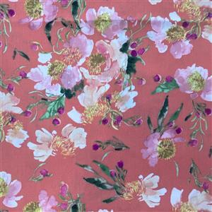 Wildflower Clair De Lune on Coral Fabric 0.5m