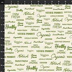Certified Delicious Farm Fresh Text On Ivory Fabric 0.5m