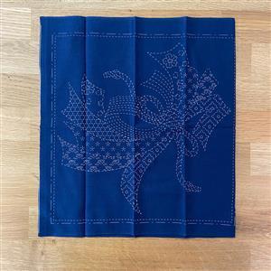 Sashiko Noshi Fabric Panel: 30x30cm (12 x 12