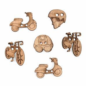 Wooden Buttons Transport Pack Of 6