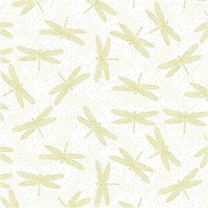 Graceful Garden Cream Dragonfly Fabric 0.5m