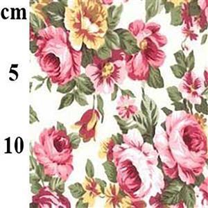 Pink & Yellow Roses on White Cotton Poplin Fabric 0.5m